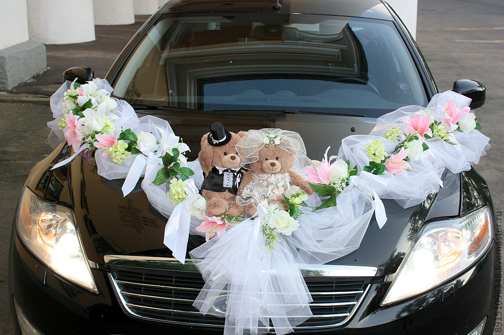 Украшения на машину на свадьбу фото своими руками