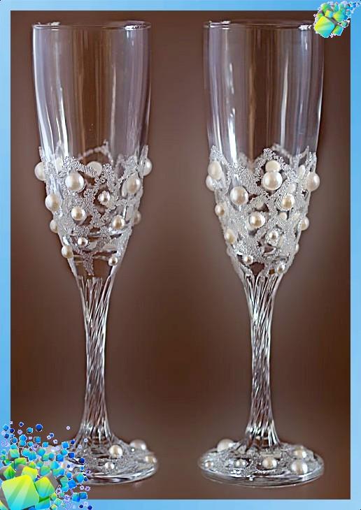 Как украшать свадебные бокалы своими руками мастер