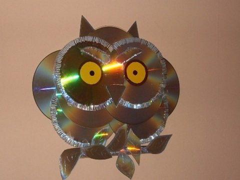 Поделки сова из дисков