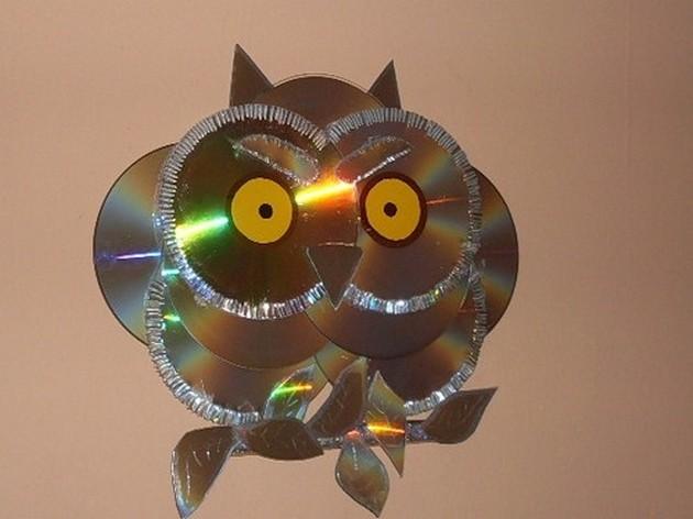 Поделка из сд дисков сова