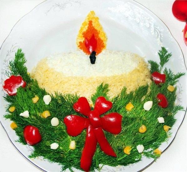 Украшение салатов к новому 2014 году