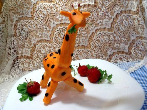 Жираф из морковки поделка