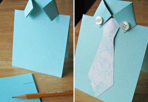 открытка в виде рубашки с галстуком