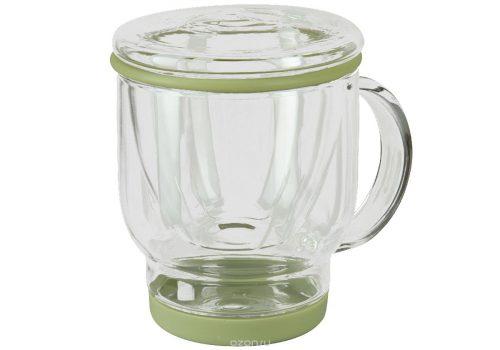 Стеклянная чашка с крышкой и ситечком