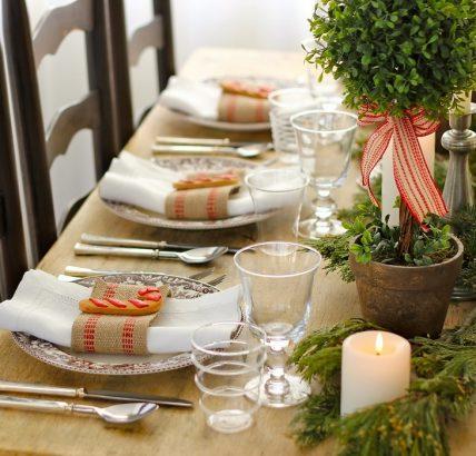 украшение стола в эко стиле