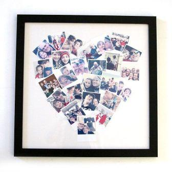 A collage of family photos in the shape of a heart