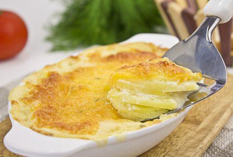 Картофельная запеканка с грибами и колбасным сыром