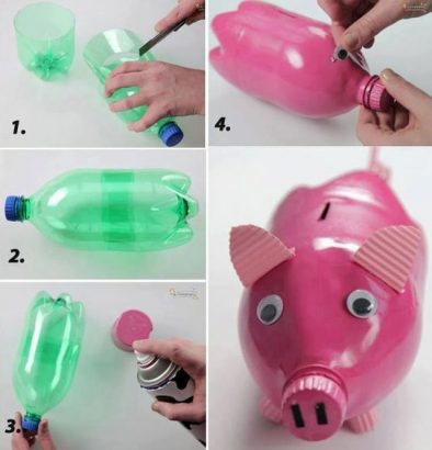 Photo of a piggy bank from a plastic bottle