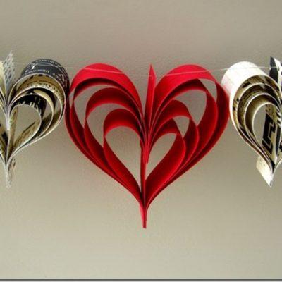 новогодняя гирлянда из бумаги в виде сердца фото