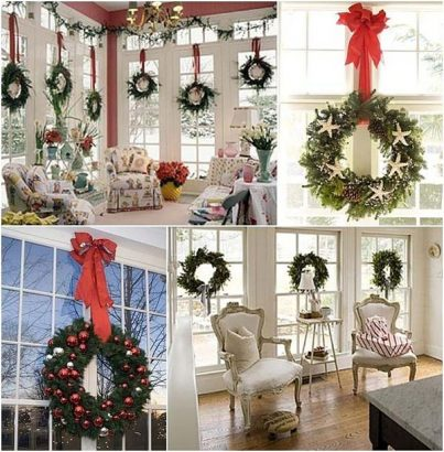 Рождественский венок на окнах
